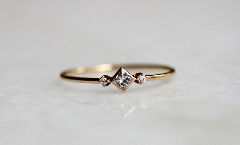 14k Deco Diamond Ring Square Diamond Ring Dainty Engagement Ring