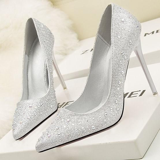 ba0a9b9bff167 POADISFOO Women's Party Wedding Thin Heels Super high heel Pumps 10cm Pointed  Toe Crystal Rhinestone Elegant women pumps.ZWM-305