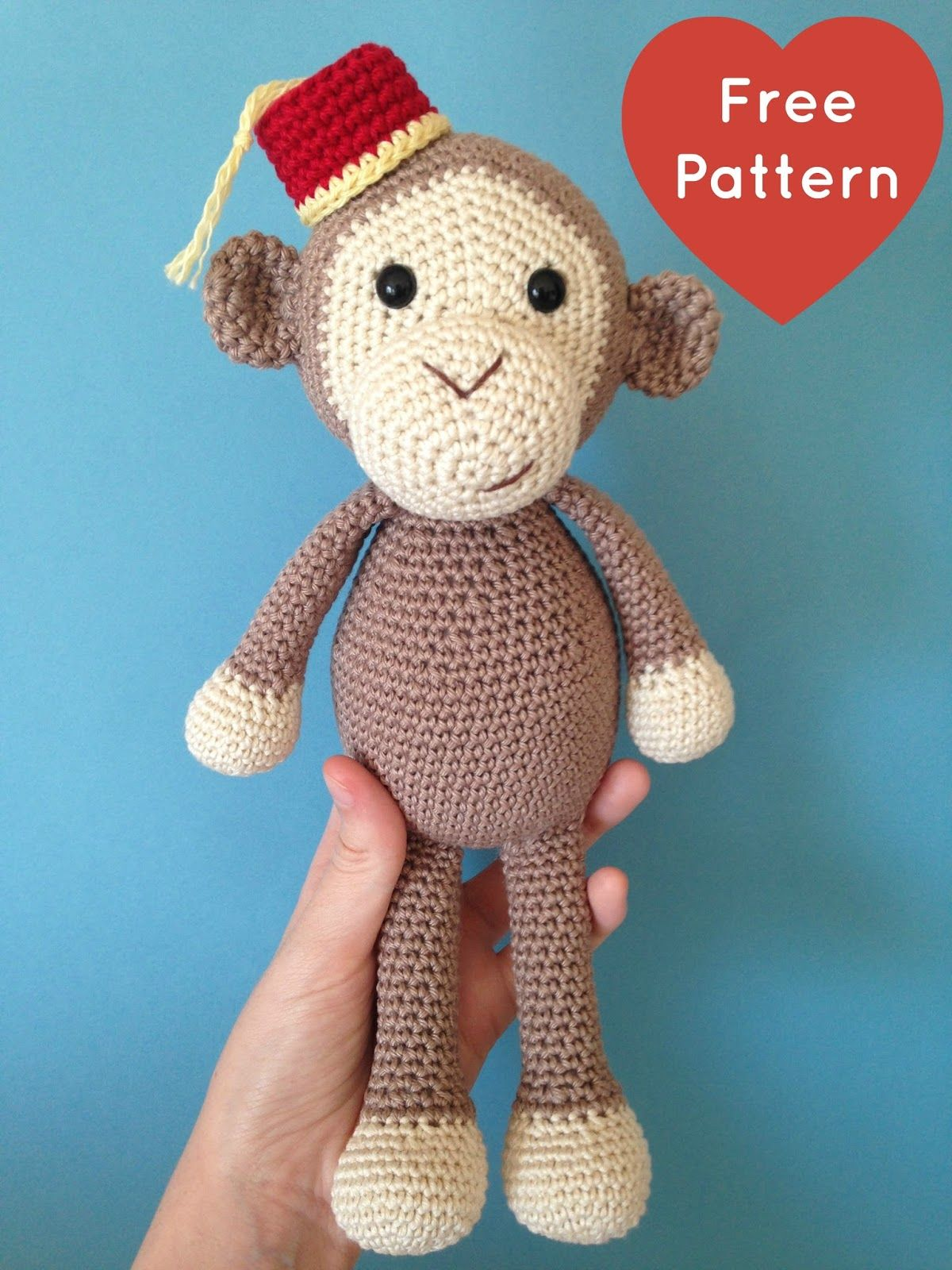 Printfriendly print web pages create pdfs crocheting this cheeky little monkey will steal your heart he wears a little red fez with a yellow tassle and has a pose able wire tail that yo bankloansurffo Images