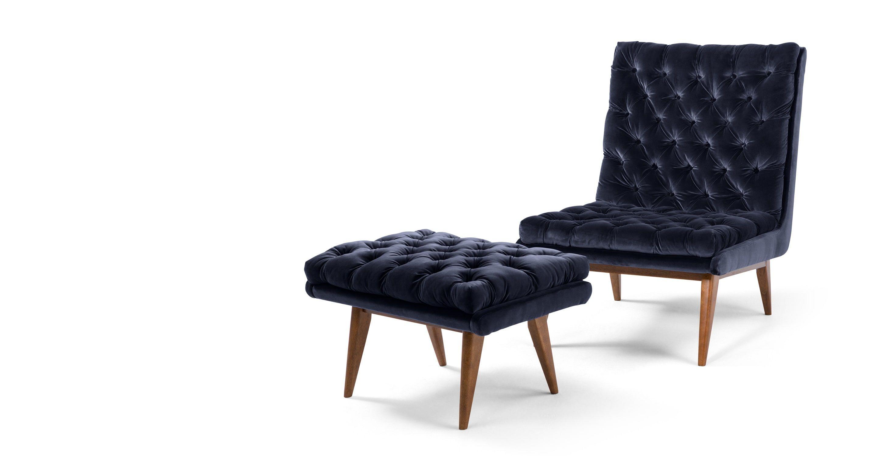 Spectre un fauteuil et repose pieds velours de coton bleu marine