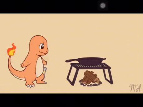 Charmander making pancakes