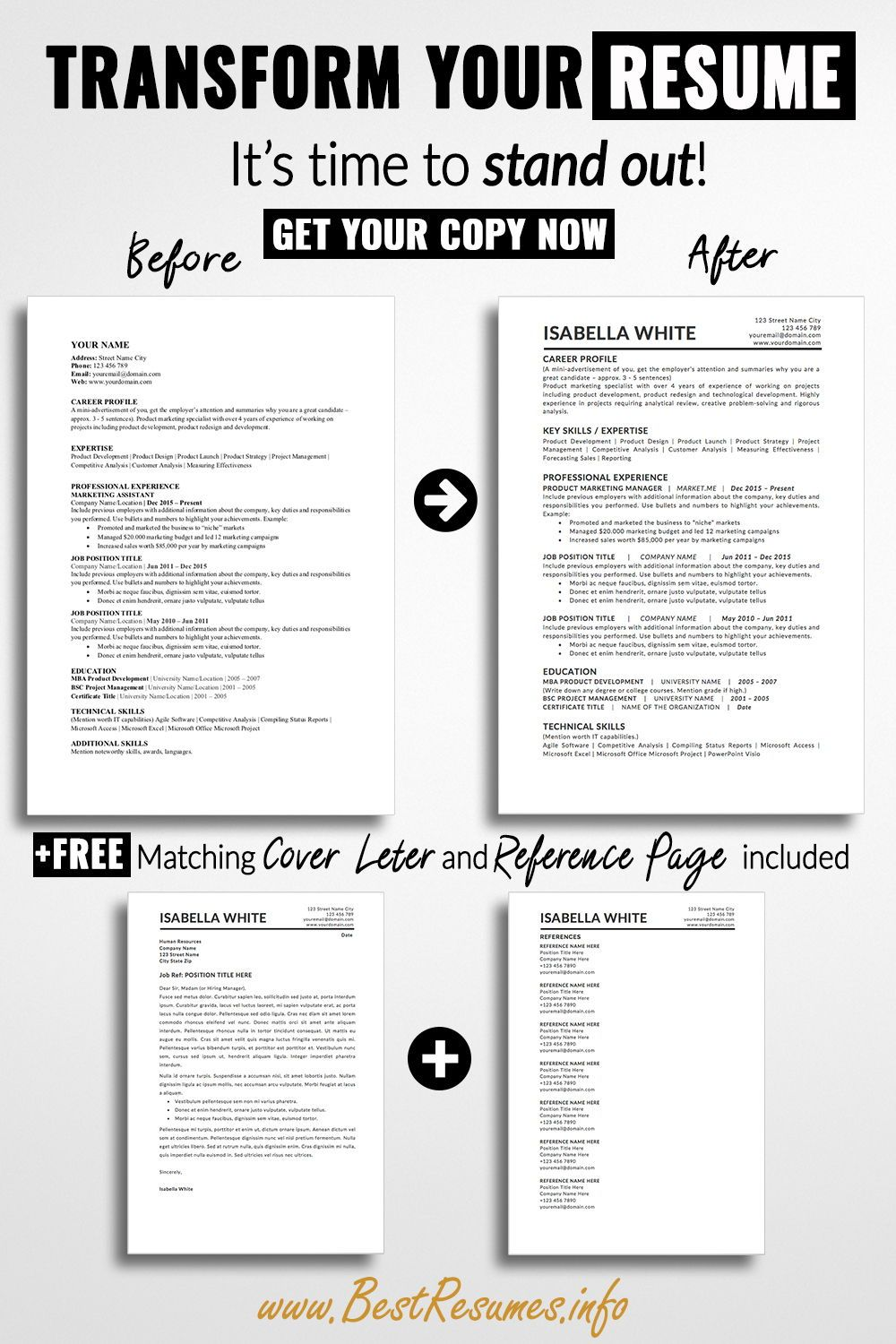 Simple Resume Template Isabella White BestResumes.info
