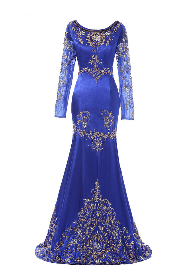 Royal Blue Beaded Muslim Evening Dress Long Sleeves Moroccan Kaftan ...