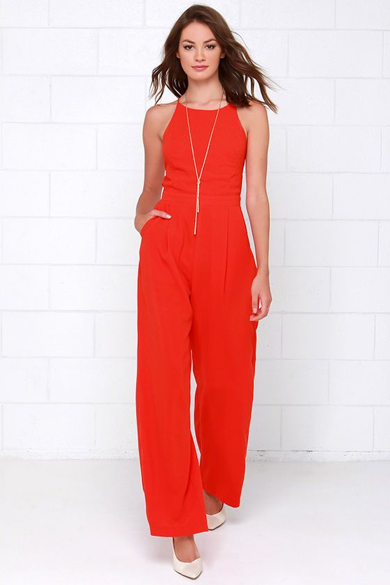 41c7843f9f0 Shoot for the Sky Coral Red Jumpsuit at Lulus.com!