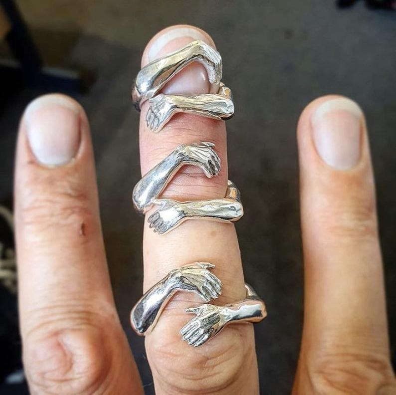 Umarmung Ring Hände Ring Sterling Silber | Etsy