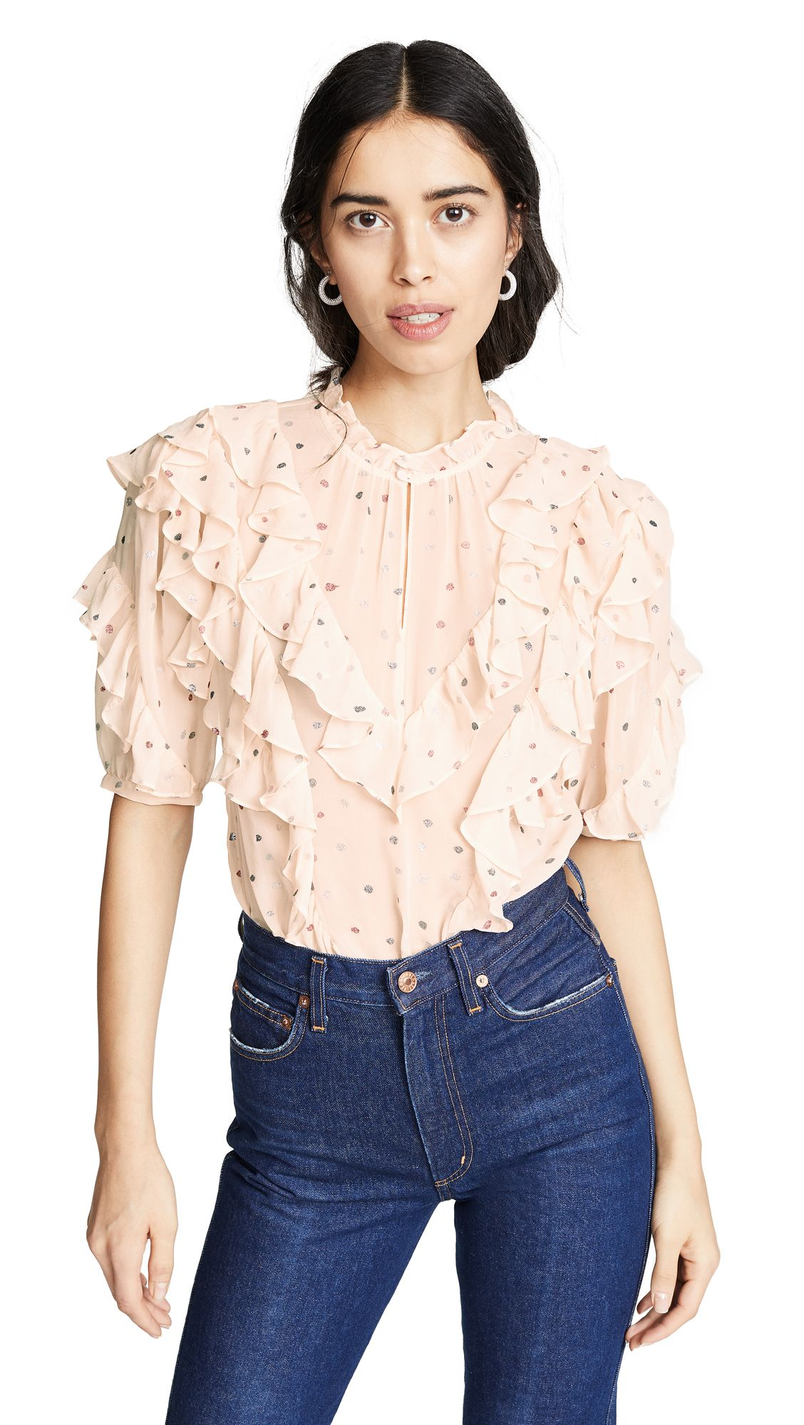 9d03cc2c94f6 Short Sleeve Glitter Top, #Mixed #Parfait #RebeccaTaylor  #ShortSleeveGlitterTop