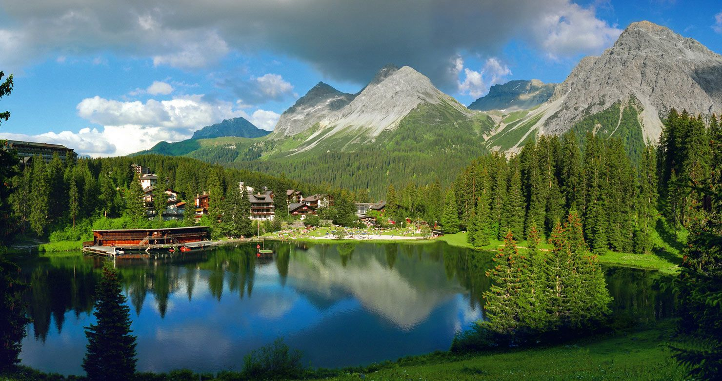 Swiss mountains in summer Tschuggen Grand Hotel Arosa Switzerland