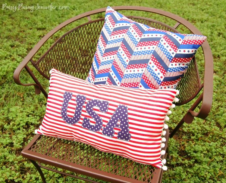This Red White and Blue Pom Pom Pillow is mine to keep and will look fantastic in the living room! And I might just have to make a few more to match!