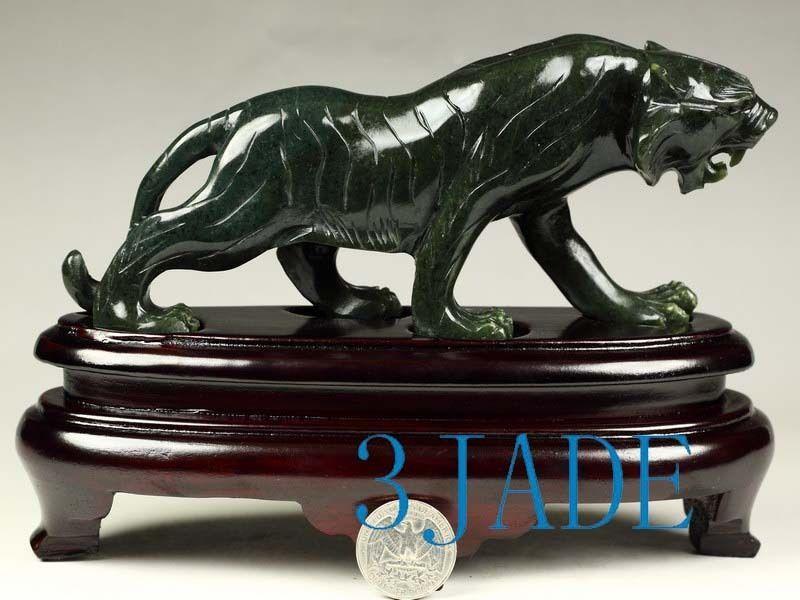 Carving Sculpture Natural Nephrite Jade Tiger Statue