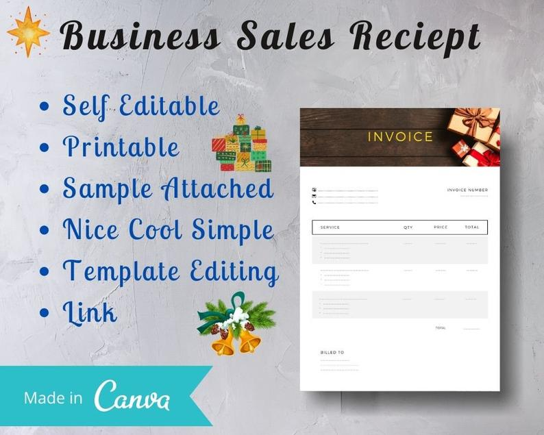 Gift Invoice Christmas Edition Business Sales Invoice Etsy Business Sales Creating A Business Brand Creation