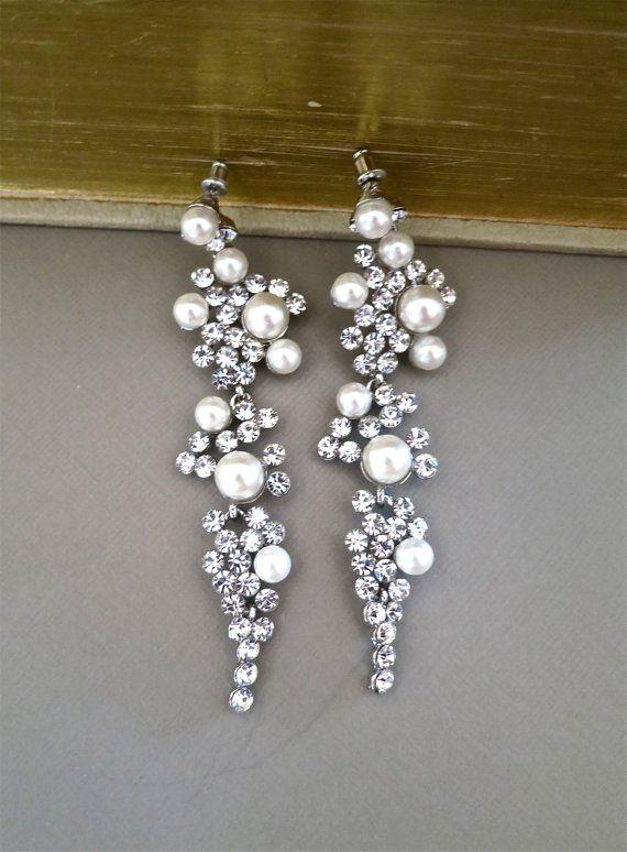 Bridal Chandelier Earrings Rhinestone Ivory Pearl Crystal Wedding