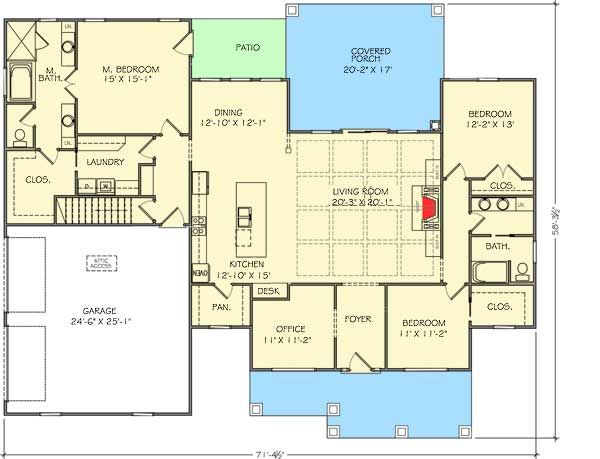 Plan 77615FB: One Level Shingle Style House Plan In 2019