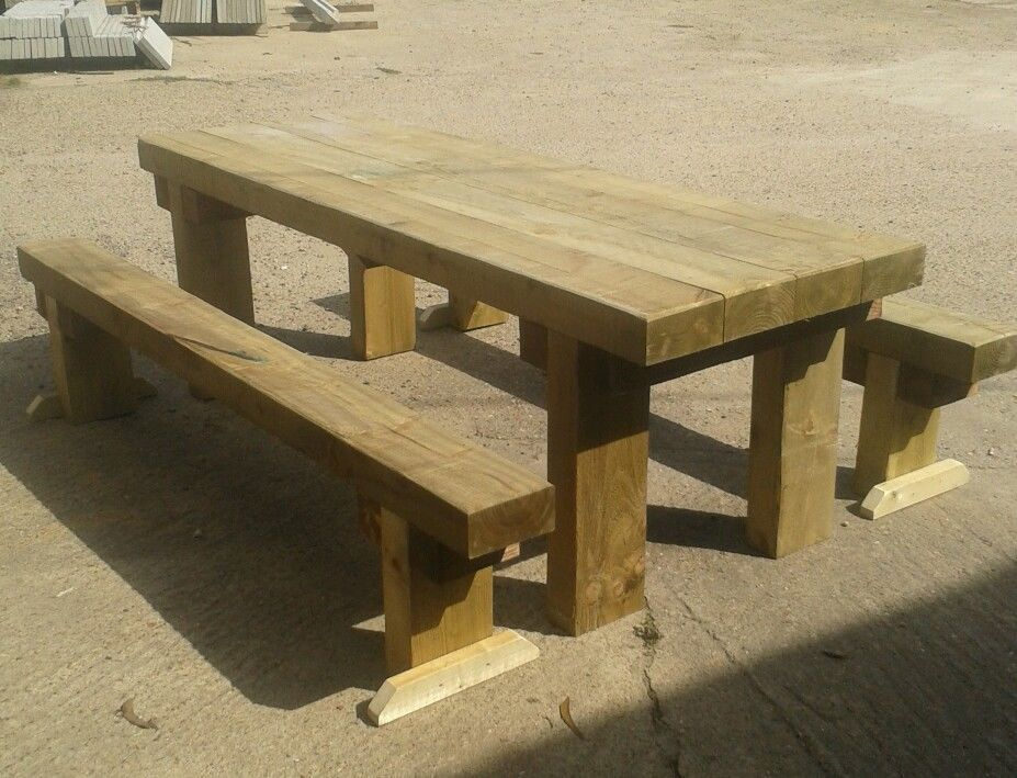 brand new railway sleeper table and 2 benches furniture. Black Bedroom Furniture Sets. Home Design Ideas