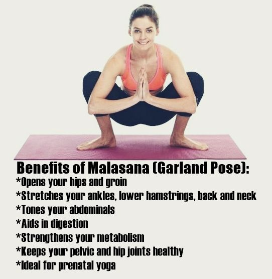 Health Benefits Of Garland Pose Malasana Yoga Poses Yoga Benefits Yoga Therapy