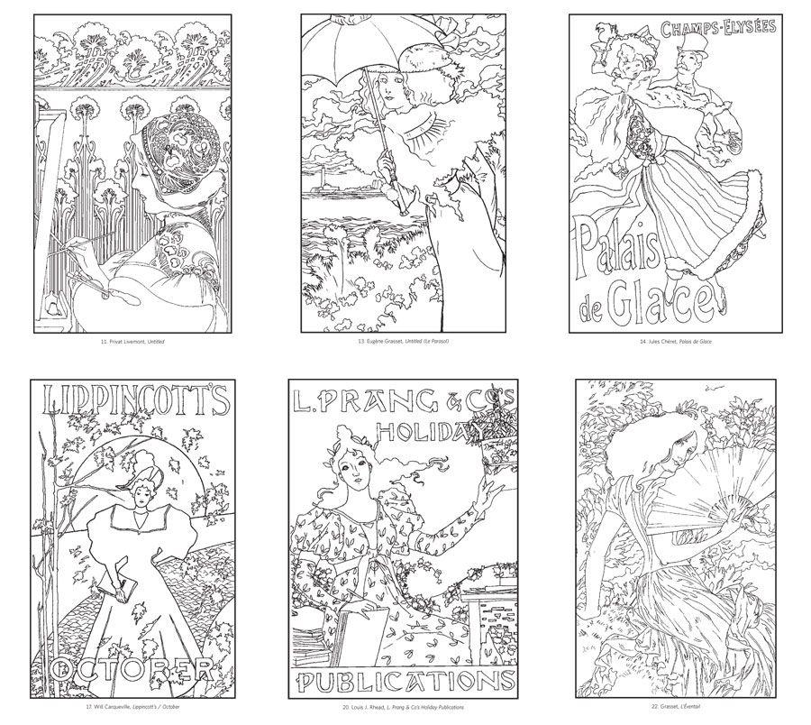 Art Nouveau Coloring Book | coloring 3 | Pinterest