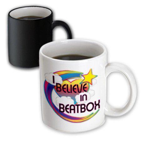3dRose I Believe In Beatbox Cute Believer Design, Magic Transforming Mug, 11oz