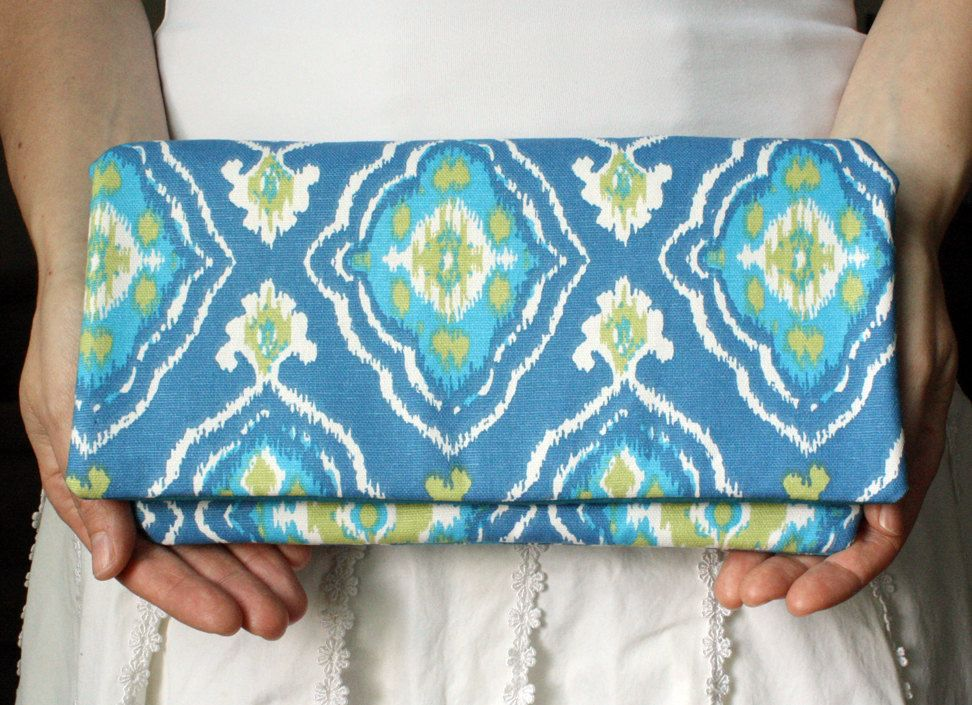 Ikat Print Clutch Tribal Clutch Patterned Purse in Blues, Spring Green and White. $38.00, via Etsy.