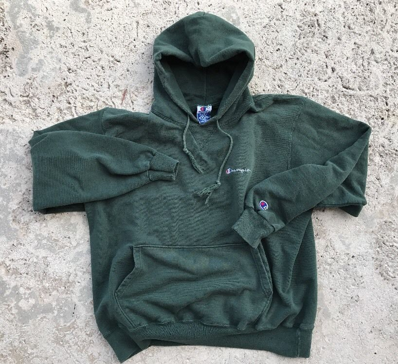 950d5b656f286 Vintage 90s Champion Spell Out Green Hoodie Adult XL Supreme ...
