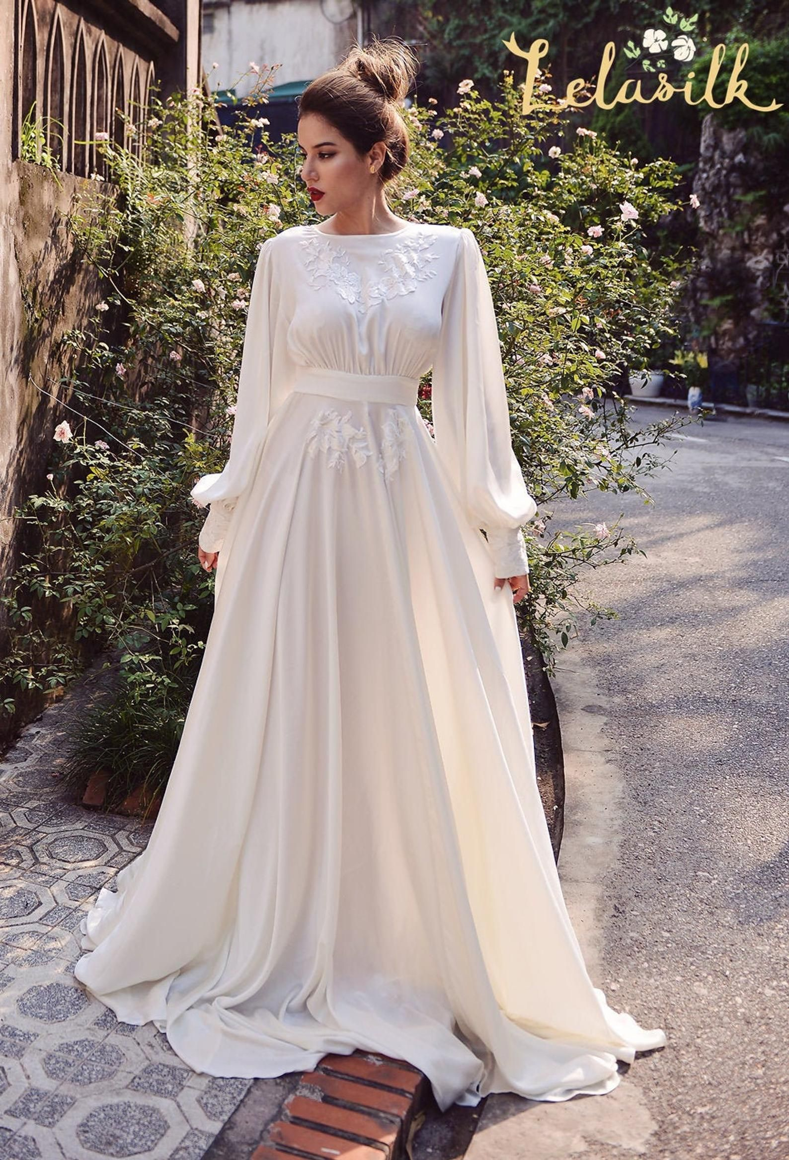 Silk Wedding Dress Embellished Lace Wedding Dress Ivory Etsy In 2020 Embellished Lace Wedding Dress Silk Wedding Dress Wedding Dress Long Sleeve