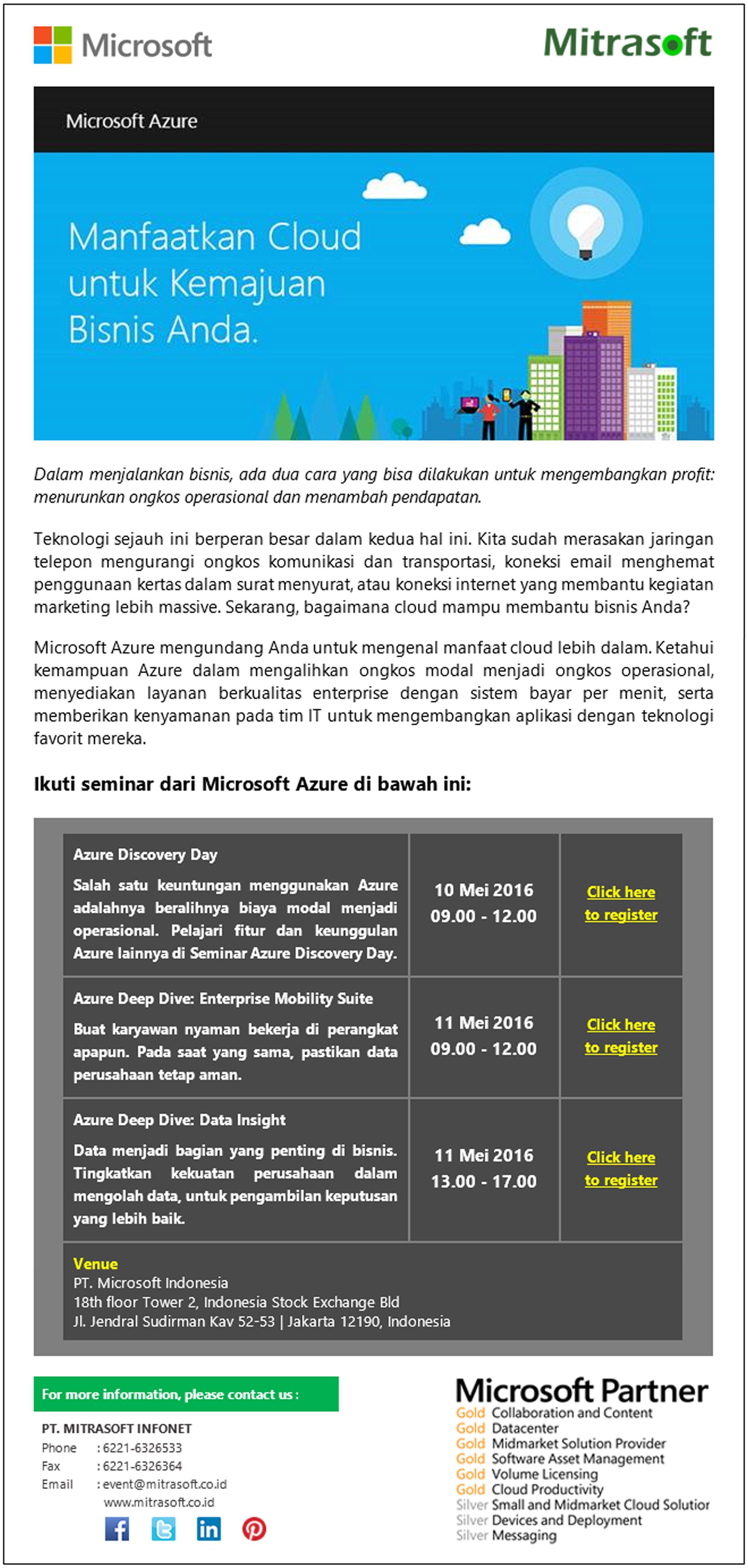 Mitrasoftevent Microsoft Event Manfaatkan Cloud Untuk Kemajuan Bisnis Anda Mei 2016 Like Us Https Www Facebook C Perjalanan Bisnis Microsoft Komunikasi