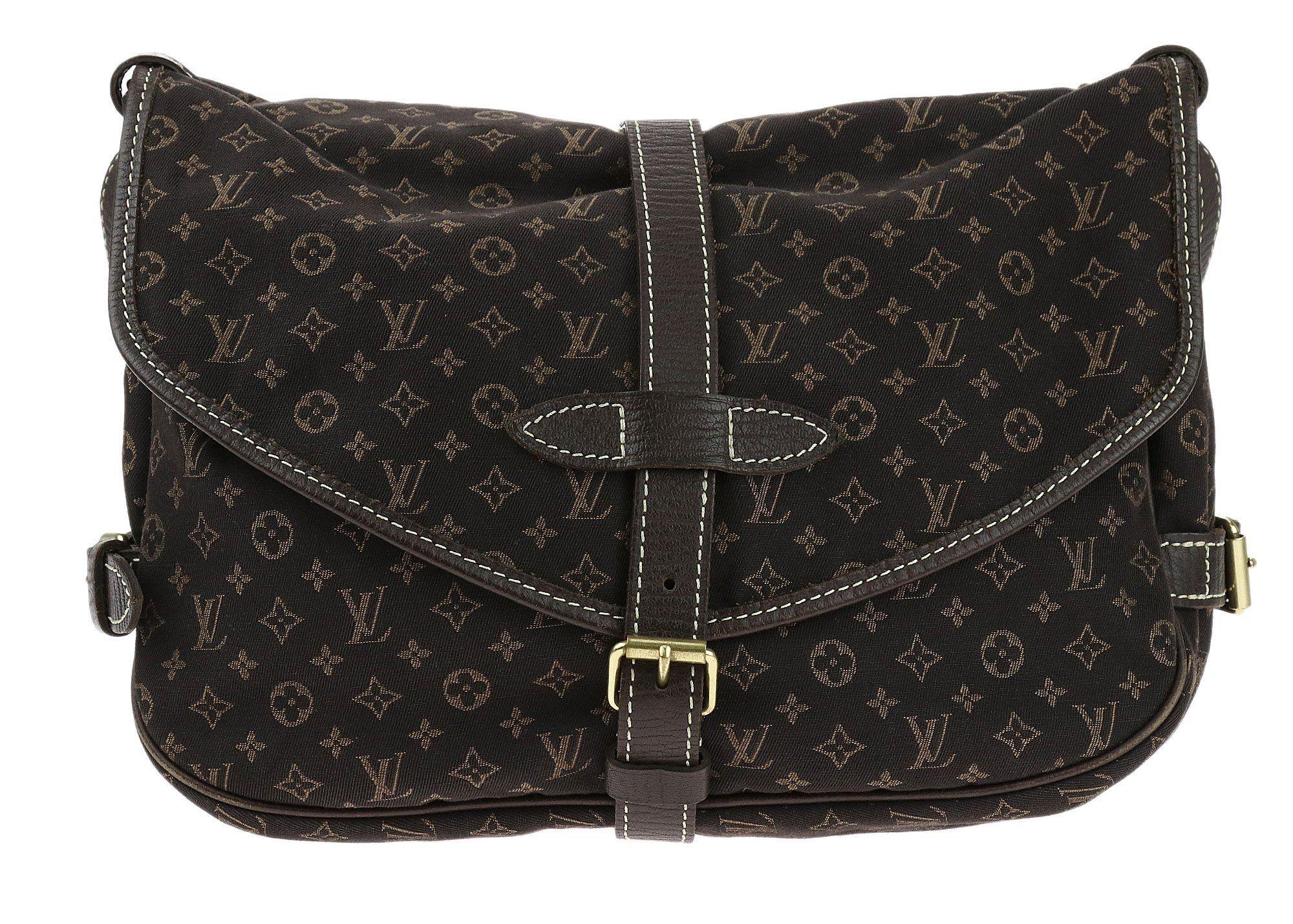 Louis Vuitton Vintage Ebene Mini Lin Canvas Saumur Messenger Bag Louis Vuitton Womens Monograms Louis Vuitton Shoulder Bag