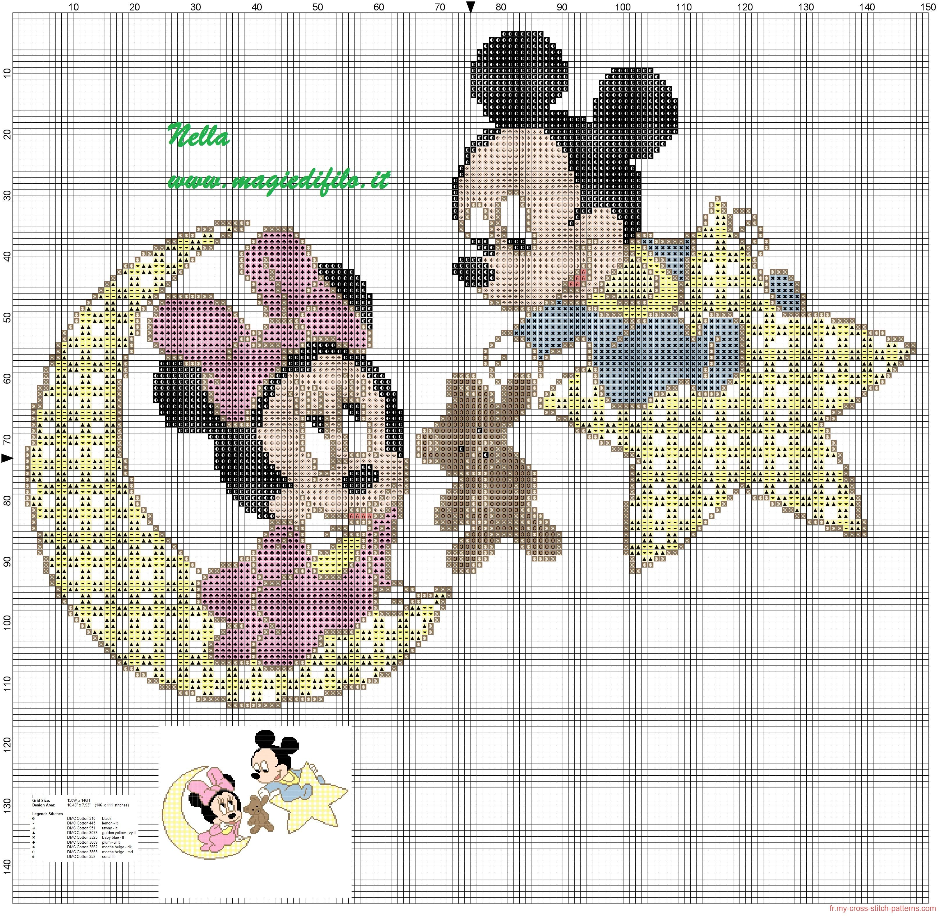 Minnie et Mickey bébé   DIY Broderie Points de croix   Pinterest ...