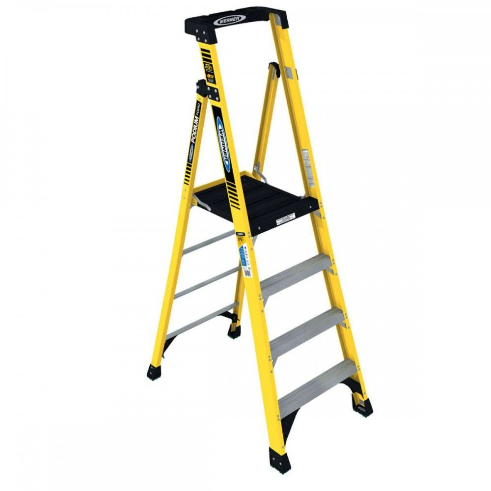 Werner Pd7304 6 Type Iaa 375lb Rated Fiberglass Podium Stepladder Step Ladders Ladder Platform Ladder