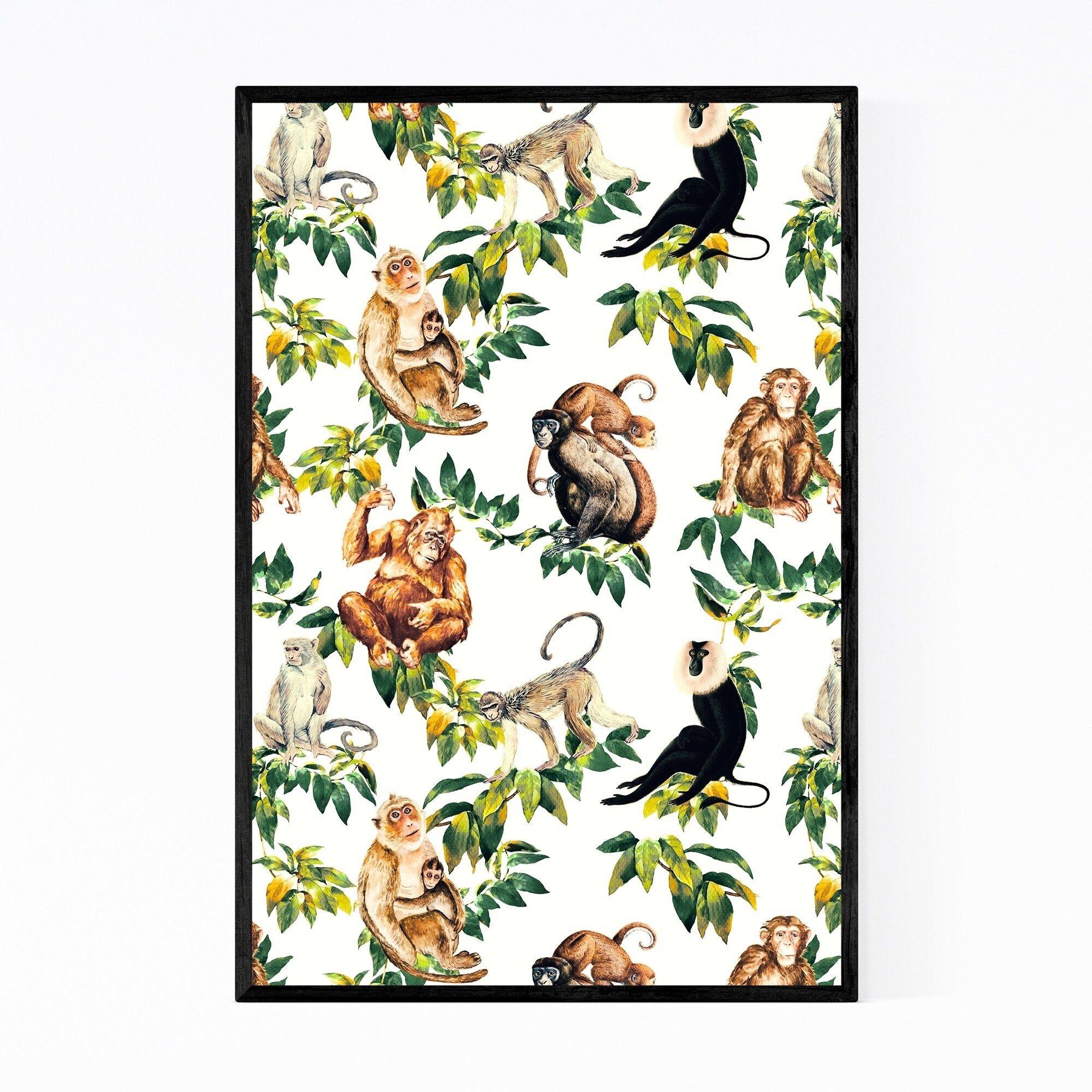 Noir Gallery Monkey Orangutan Jungle Pattern Framed Art Print (Black - 20 x 30), Multicolor #junglepattern