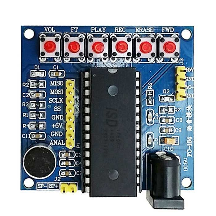 ISD1760 Voice / Recording Module - Blue. 1. Recording time: 6K 75 seconds. 8K 60 seconds; 2. Chip operating frequency 6KHZ and 8KHZ can choose; 3. With power indicator light. chip indicator light; 4. The operation is simple. do not need a single chip or other modules will be able to work directly; 5. The chip control pin has been led to facilitate control of the connection 6. Power supply 5V.. Tags: #Electrical #Tools #Arduino #SCM #Supplies #Relays