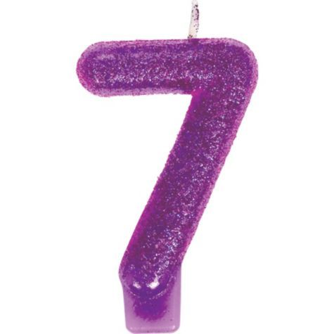 Glitter Purple Number 7 Candle 3in