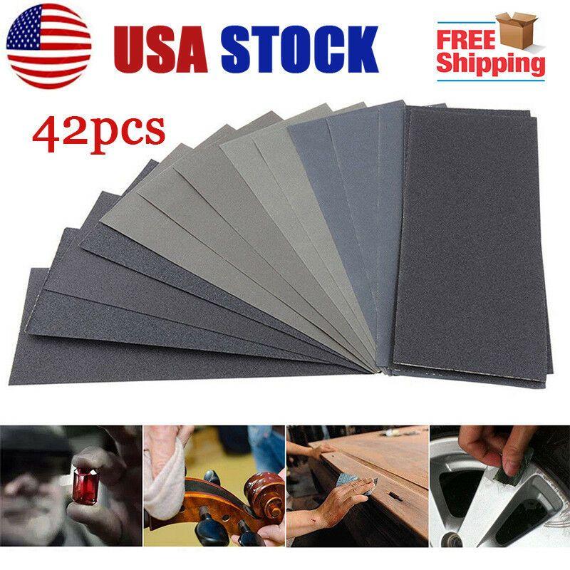 Ebay Advertisement 42pcs Wet Dry Sandpaper Sheets 120 3000grit For Metal Sanding Automotive Polish Sandpaper Sanding Automotive