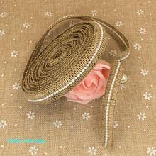 1.8 cm largeur * 10 m Jute naturel Jute hesse ruban avec perles Vintage de mariage Party Decoration décoration main(China (Mainland))