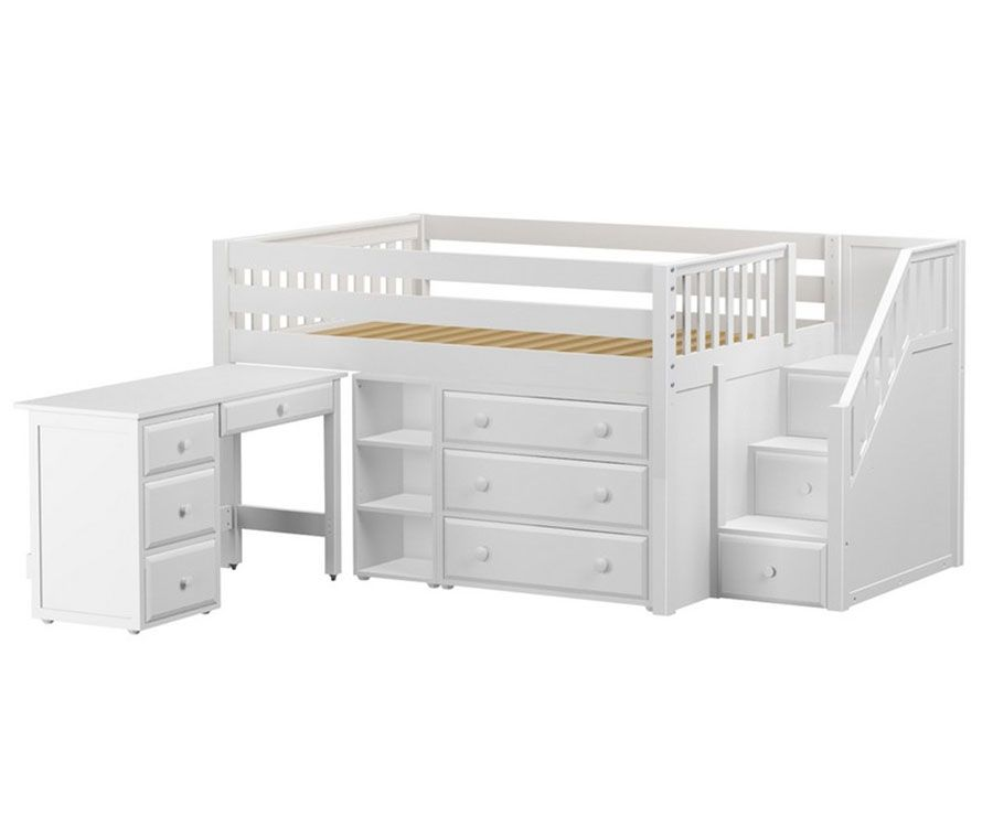 PERFECT2L Full Size Low Loft Bed With Stairs Amp Desk White