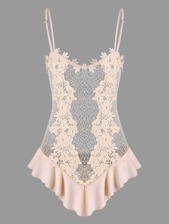 d7dbf77f2 2019 的 Valentine See Through Crochet Lace Lingerie Teddy - PINK M ...