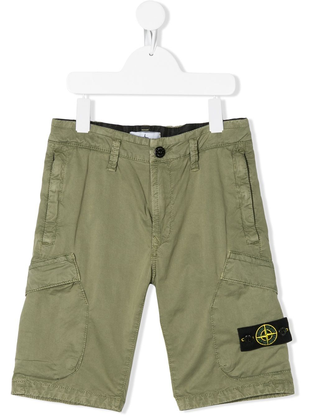 Stone Island Junior Logo Patch Cargo Shorts Green In 2020 Stone Island Junior Shorts Cotton Logo