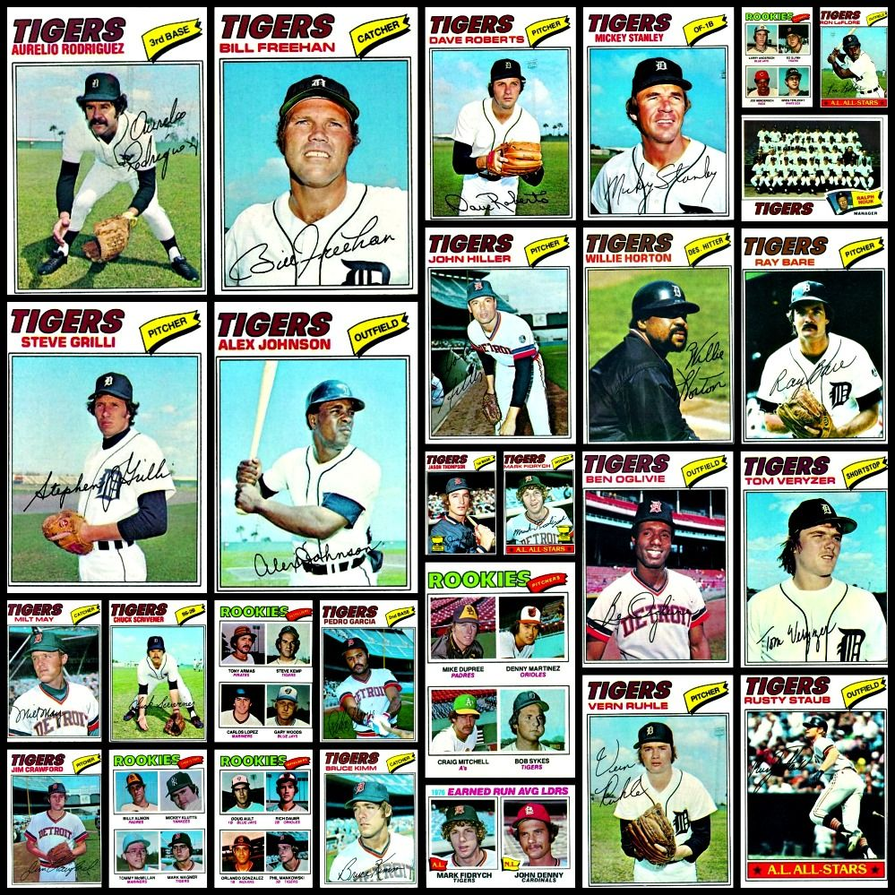 1977 detroit tigers topps baseball cards collage