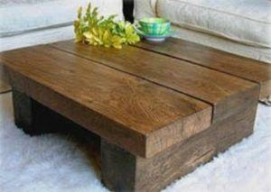 Pine 4ft X 3ft Wood Coffee Table Chunky Rustic Beam