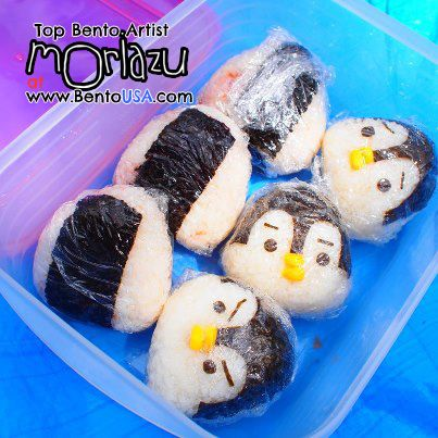cute angry, sad Penguin Rice ball (^_^) #bento
