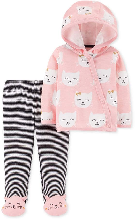 52b84ece62eb Carter s Baby Girls 2-Pc. Kitten Cotton Cardigan   Pants Set - Pink ...