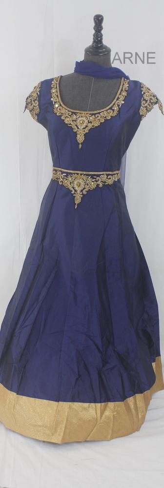 Only Orange remaining in this designer pattern! Buy now! Blue Silk Anarkali Dress  http://www.arneus.com/dresses/blue-silk-anarkali-dress