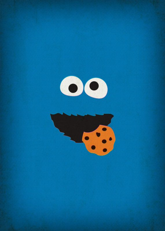 Sesame Street Character Cookie Monster Minimalist By TheRetroInc