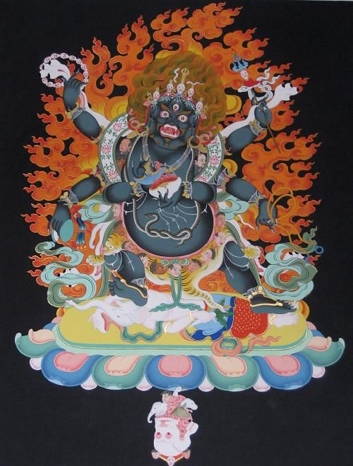 Mahakala takes a terrific form to conquer the most horrible realms of existence. As a fierce manifestation of Avalokiteswora, he helps beings overcome all negative elements, especially spiritual ones, personified and symbolized by the fearsome creatures over which he becomes lord.
