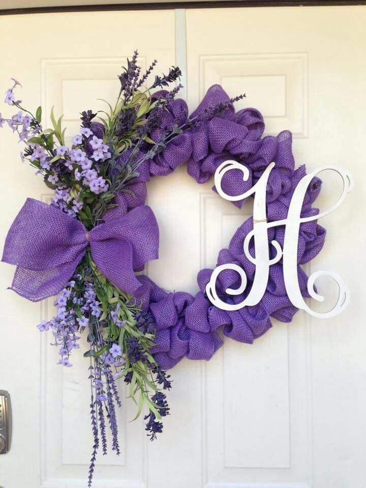 Spring Burlap Wreath Purple Burlap Ribbon Bow With Purple Flowers And Monogram Letter Love It Wreaths Spring Wreath Burlap Wreath