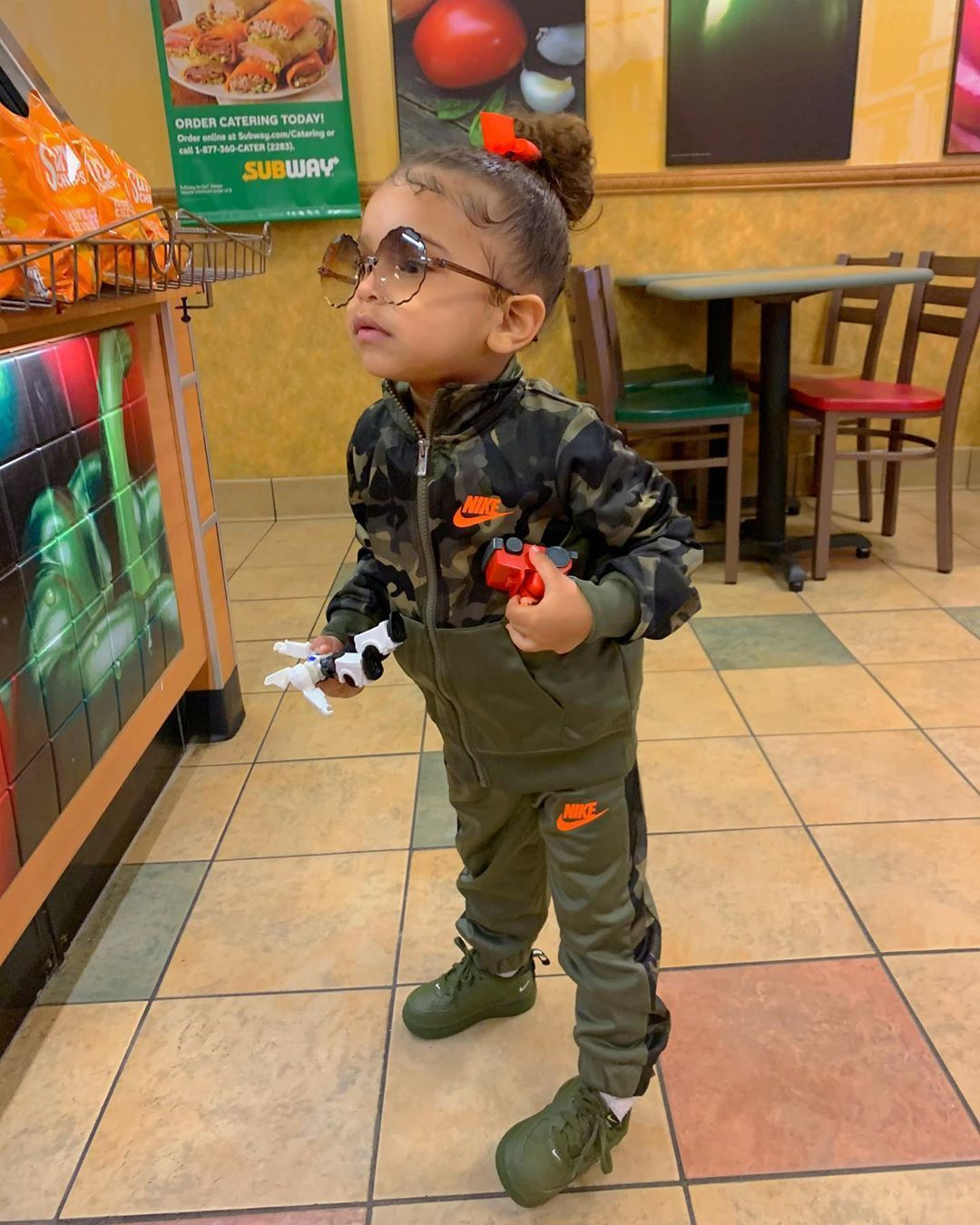 "Official London Marie Rose 👑 on Instagram: ""We love @subway ❤️ so yummy—— Sunglasses: @vipkids___  Outfit: @macys @nike  Shoes: @kidsfootlocker"""