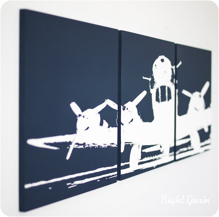 I Shall Fly High Airplane 3 Panel Wall Art In Custom Colors By Rightgrain 68 00 Via Etsy Kids Canvas Art Airplane Wall Art Kids Room Art