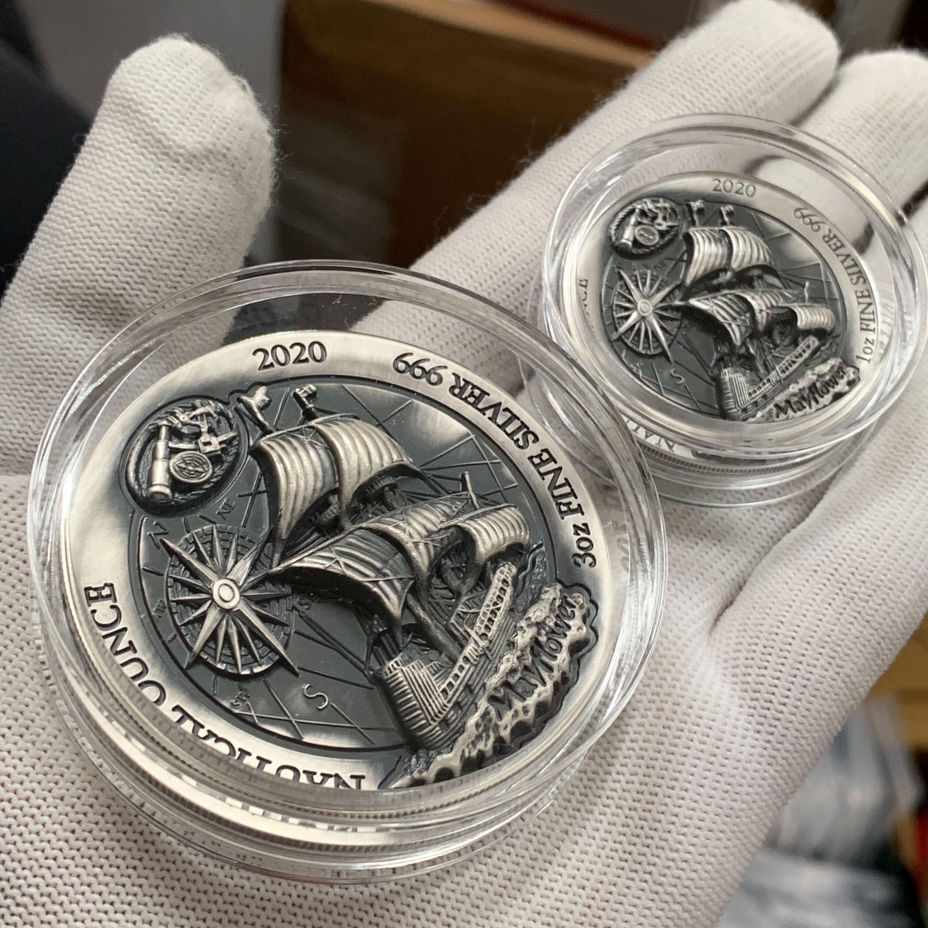 2020 1 Oz 3 Oz Rwanda Nautical Ounce Mayflower 999 Silver High Relief Antique Coins In 2020 Silver Coins Antique Coins Silver Bullion