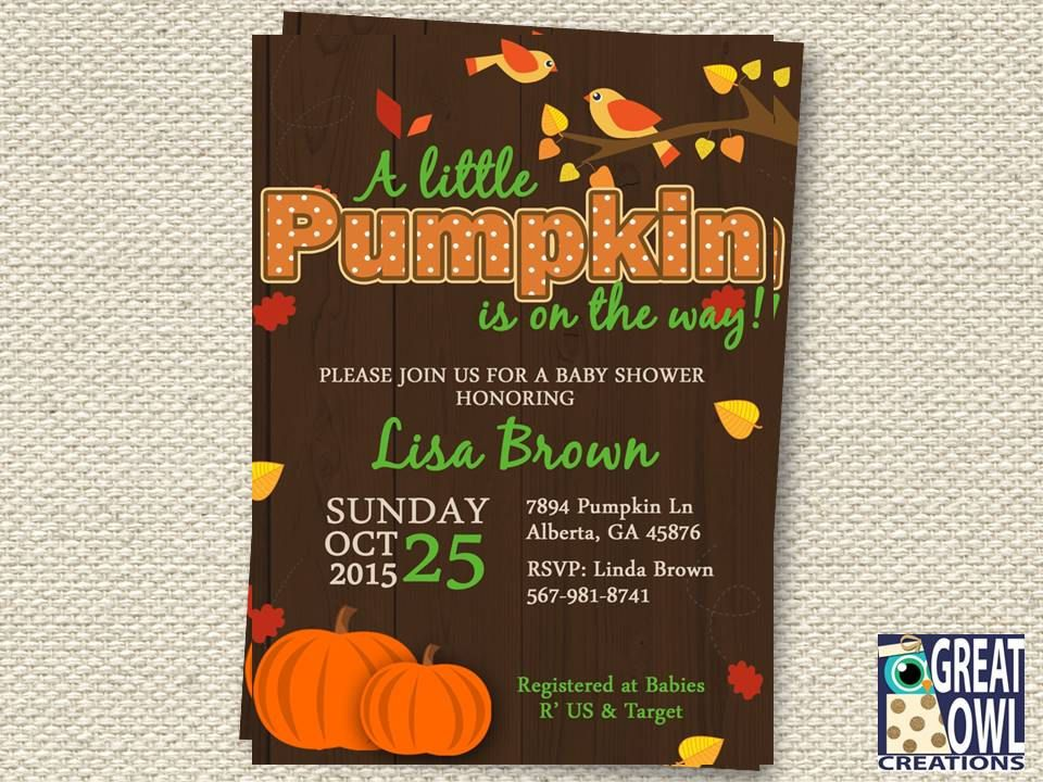 Pumpkin Baby Shower Invitation, A Little Pumpkin is on the Way, Fall ...