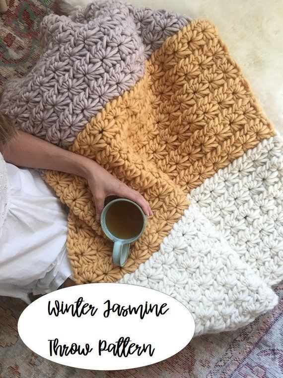 Crochet Blanket Pattern: Easy Chunky Crochet Blanket // Winter Jasmine Throw | Etsy - The Winter Jasmine throw is a cozy, soft, and thick blanket that will have you wishing winter would last all year. Hand crocheted with 100% super bulky Peruvian Highland wool, this pattern works up into a luxuriously soft blanket with incredible texture.This pattern is for a 32