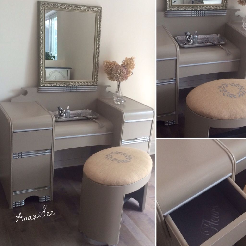 Mid Century Art Deco Waterfall Vanity With Burlap Covered Oval Stool ,a  Piece Of Nostalgia,all Refurbished And Chalk Painted Grey Mauve Ant Silver  Trims 💕