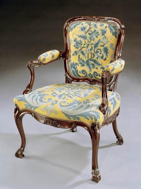A George Iii Carved Mahogany Needlework Armchair English Antique Furniture Armchair Georgian Furniture